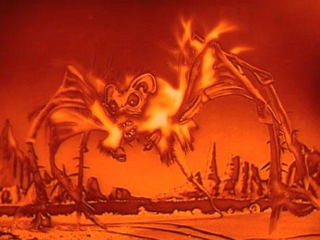 """Szenenfoto aus dem Film """"Weltraumschiff MR-1 gibt keine Antwort"""" (The Angry Red Planet, USA 1959) von Ib Melchior; die Bat-Rat-Spider"""