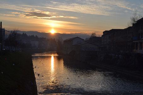 Sonnenuntergang Sarajevo Miljacka