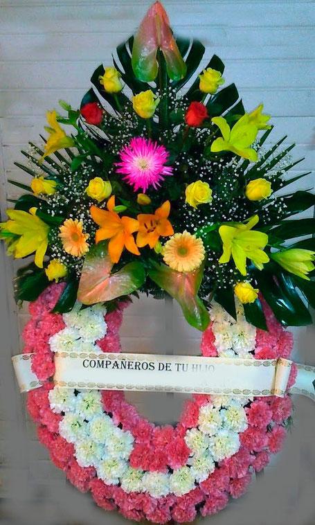 Corona de flores para difuntos