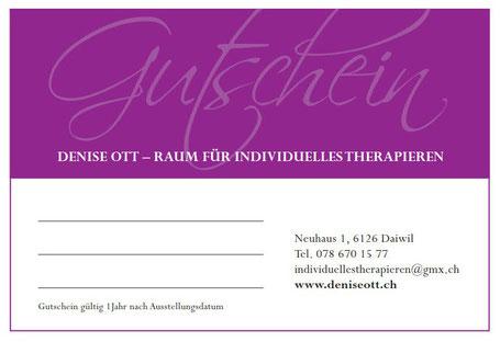 Geschenk Gutschein Massage - Physiotherapie - Pranic Healing - Energiearbeit