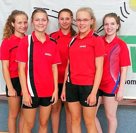 Landesmannschaftsmeister der Mädchen – v.l:  Annkatrin Lange, Hannah  Heilck,  Sarah Conrad, Svenja Götting, Luise Tieglack