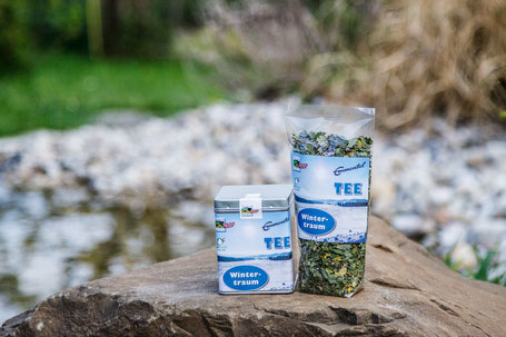 Wintertraum Tee in Blechbüchse und in Säckli gefüllt