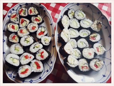 Sushi vegan, Sushi mit Frischkäse, Maki Rolls vegan