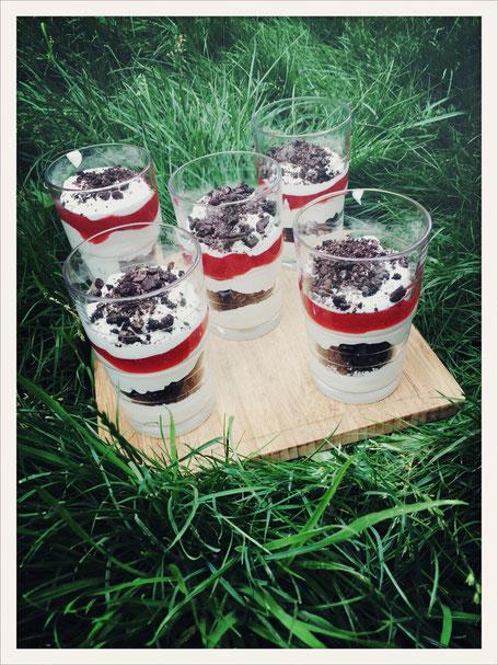 Schichtdessert vegan, Dessert vegan Oreo Erdbeere, Dessert vegan Quarkspeise, Dessert vegan Thermomix
