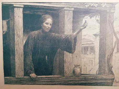 """Ce dessin de """"La drachme perdue"""", retrouvé dans les archives de notre paroisse illustre bien le patient travail du trésorier..."""