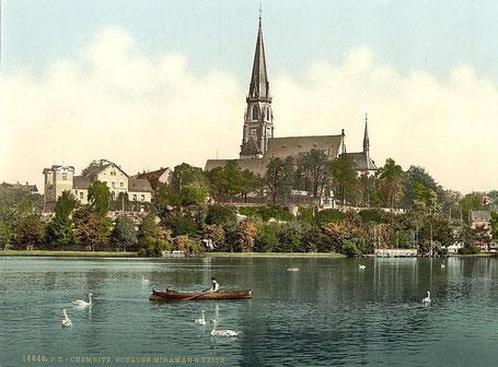 Schloßkirche, Schloßteich und das Miramar um 1900 (Photochrom Prints)