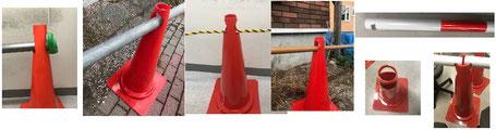 安い単管バリケード/ロープで間隔をあける三角コーン