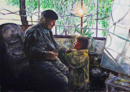 Der mexikanische Maler José Luis Ruissó sitzt  in seinem Atelier und vermittelt sein Wissen ueber Kunst der Malerei seiner vor ihm stehenden Enkelin.