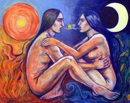 """""""Ometeótl"""" ist ein zweigeschlechtlicher Schöpfergott. Mann und Frau im Dialog verbinden Sonne und Mond, Feuer und Wasser, Himmel und Erde, Weizen und Mais miteinander"""