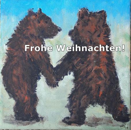 """Das Originalbild """"Bären"""" ist ein kleines Gemälde von zwei Braunbären, Acryl auf Baumwolle, ca. 20 cm x 25 cm, das sich im Privatbesitz guter Freunde befindet."""