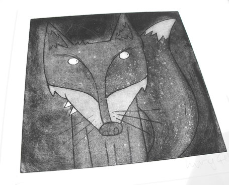 Sly menacing Fox art etching print