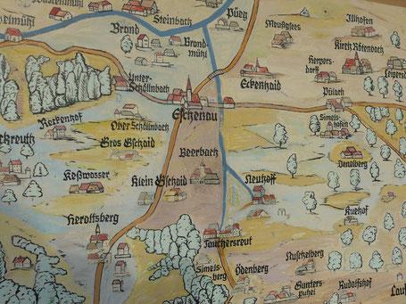 Karte des Gebietes aus dem 16. Jahrhundert