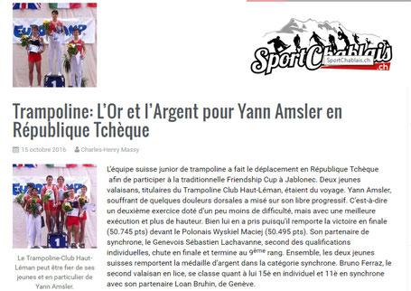 Capture d'écran de l'article paru sur le site Sport Chablais, 15 octobre 2016