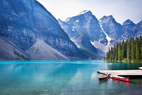 Moraine Lake and Canoe Dock in Banff National Park
