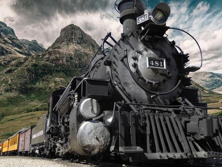Eine alte Dampflock .
