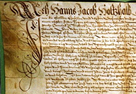Bergbaugeschichte Schams, Rheinwald und Avers. Ausschnitt aus dem Bergwerkspachtvertrag zwischen der Landschaft Rheinwald und Hans Jacob Holtzhalb aus dem Jahre 1605.