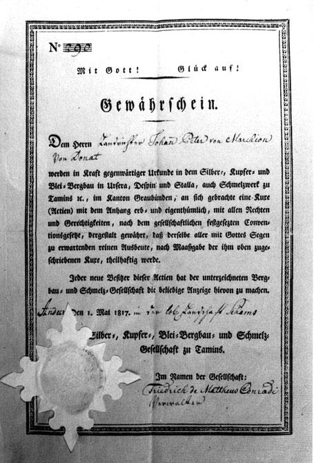 Gewährschein (Namensaktie) der Schmelzgesellschaft von Ursera, Despin und Stella für Landrichter Marchion 1817. Bergbau im Schams, Ursera und Taspin, Taspen.