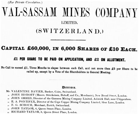 Kopf des Aktien-Zeichnungsprospektes der Val Sassam Mines Company.