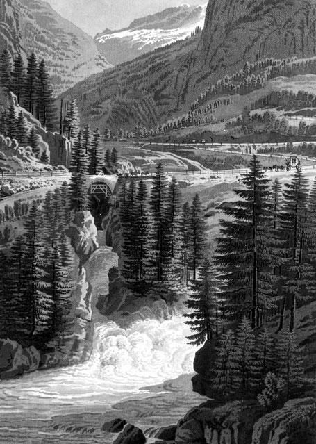 Raubbau am Wald. Kupferstich Einmündung des Averses Rhein in den Hinterrhein (heute im Staubecken Bärenburg). Die kahlgeschlagenen Talflanken zeigen, dass dieser Stich um 1830 entstanden sein könnte. Oben im Talausschnitt Piz Grisch mit Gletscher. Bergbau