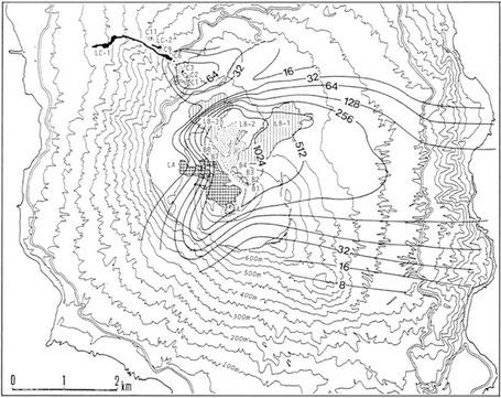 1986年伊豆大島噴火による噴出物と火口群の図