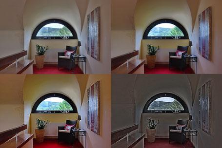 Immobilienfotos: Unterschiedliche Fotos der Szene, die eher unnatürlich wirken
