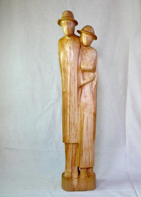Raulf Streuff,Skulptur, Holz, Menschen, Figur, abstrahiert, Spaziergang, Paar
