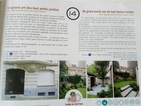 Programme du Jardin en fête 2016 avec la sélection d'un de mes jardins de ville à Bruxelles - Ixelles