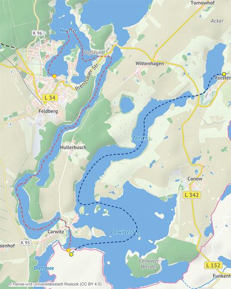 Wasserwanderkarte mit Kanutouren die von einer orangenen und dunkelblauen Strichlinie gekennzeichnet sind. Die Strecke verläuft von Feldberg nach Carwitz  über die Seen - Haussee, Schmaler Luzin bis Carwitzer See.