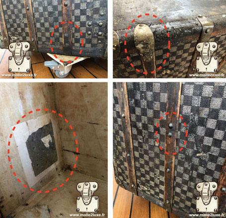 mauvaise réparation de malle ancienne Louis Vuitton malle courrier