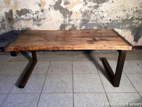 table basse metal bois diy industrielle