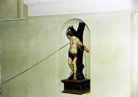Der Hl. Sebastian an seinem Platz in unserer Heimatkirche. Bildaufnahme 2000