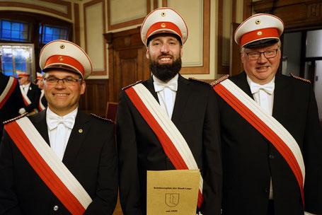 v.l. Oberleutnant Baumgardt, Leutnant Runte sowie Oberleutnant Lütge (Foto: J. Pambor)