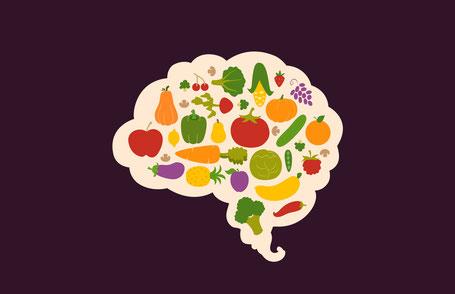 Nüsse, Früchte und Beeren Formen ein Gehirn