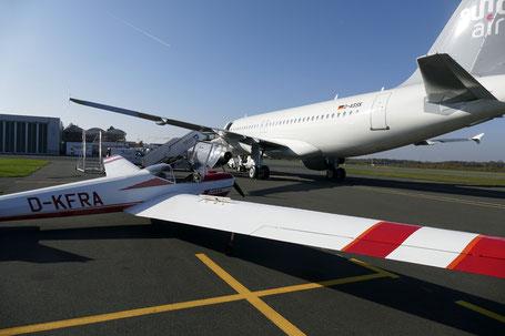Während der Ausbildung werden auch Verkehrsflughäfen angeflogen