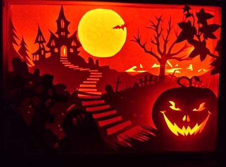 #shadowlightbox #papierschnittlicht #papercutart #papierkunst #papierlicht #halloweenlicht #halloween #nadineskreativschmiede