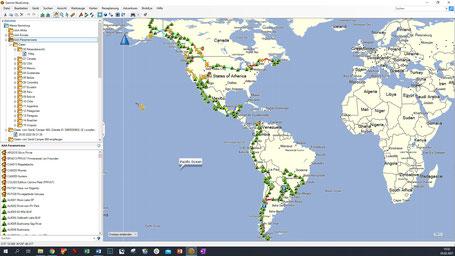 Garmin Basecamp: GPS Daten in Liste und auf der Karte