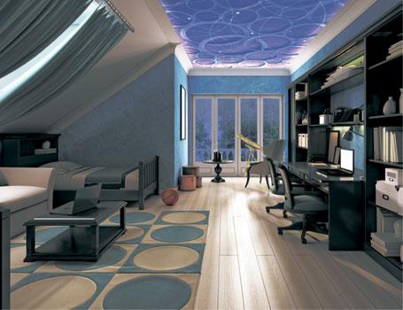 3D Spanndecke Dachwohnung mit Spezialeffekt