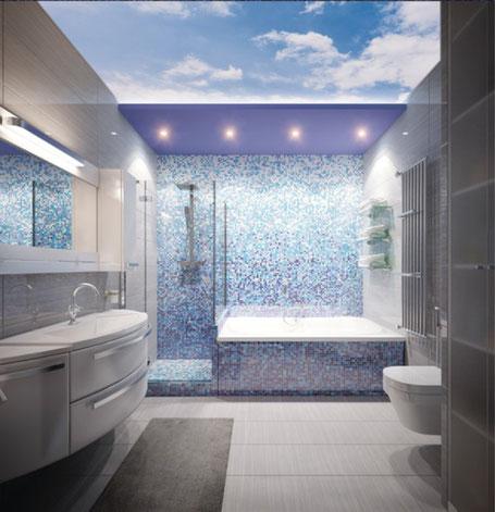 3D Spanndecke im Bad beleuchtet, Himmel am Tag
