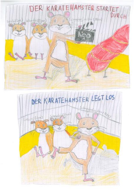 Der Karatehamster gezeichnet von Anna Mandl