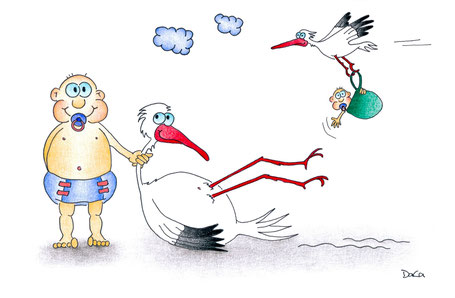 Glückwunschkarte Geburtsanzeige Würgebaby mit Storch