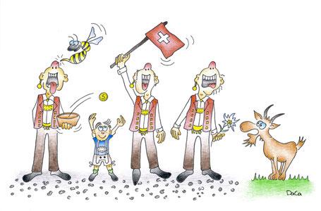 Postkarte Swissness Jodler am Fahnen- und Talerschwingen, Ziege und Wespe