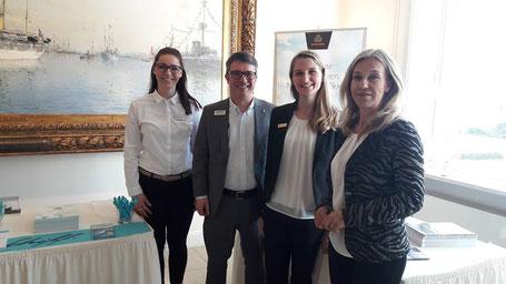 Anne Sieg (TUI Cruises), Marco Reiter (MSC), Michelle Sager (CUNARD), Petra Hoffmann (A-ROSA)