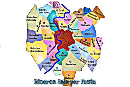 mappa sale per feste per bambini a Roma