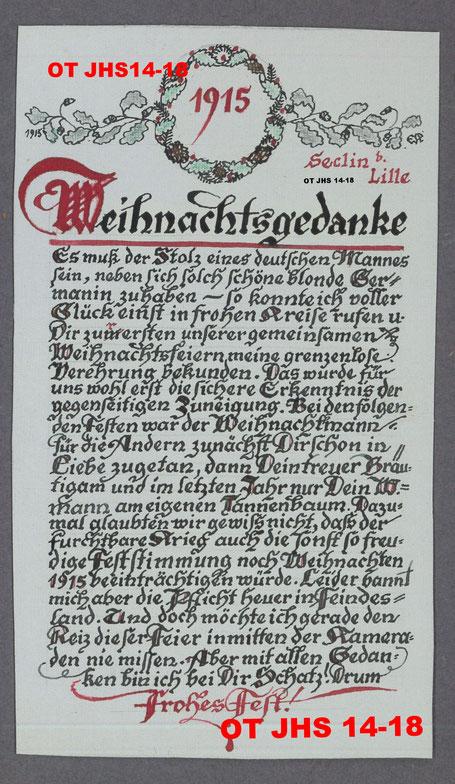 Poème de Noël 1915 d'Ernst Kopp à son épouse - Propriété exclusive : OT JHS14-18 (Reproduction et copie interdites)