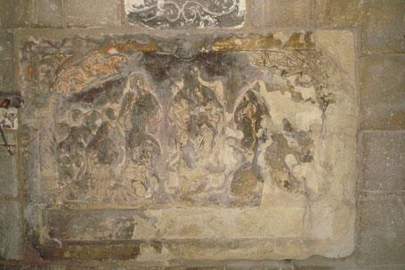 Seclin - Collégiale St Piat : Bas-relief XIVe ou XVe siècle (Taille 96 cm large / 67 cm haut)