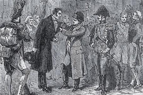2 janvier 1812 : Napoléon agraffant sa propre Légion d'Honneur sur le manteau de l'industriel philantrope, Benjamin Delessert