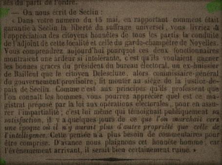 """Extrait de """"La Liberté - Journal du Nord de la France"""" - 20 Mai 1849 (BM Lille)"""