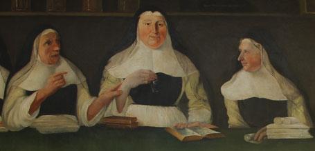 """Détail """"Leçon de pharmacie"""" - De gauche à droite : Marie-Augustine ROGER, Marie-Benoite TREDEL (la Supérieure) et Soeur Marie-Monique."""