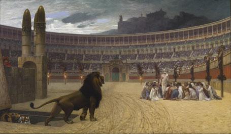 """""""Dernières prières des martyrs chrétiens"""" par J.L. Gérôme, 1875-1885 - Walters Art Gallery, Baltimore"""