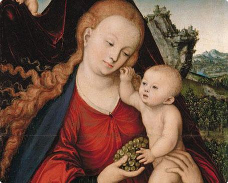 """Cranach - """"La madone aux raisins"""" vers 1520-25 - Exposé à Munich, Alte Pinakothek"""